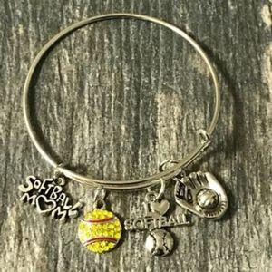 Softball Mom Charm Bangle Bracelet for Women